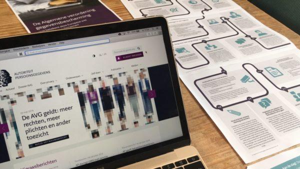 Autoriteit Persoonsgevens website over AVG op beeldscherm en folders op tafel